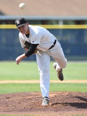 Marlboro's Nick Mongelli pitching during the 2016 Class B state regional semifinal game versus Keio Academy at Cantine Field in Saugerties.