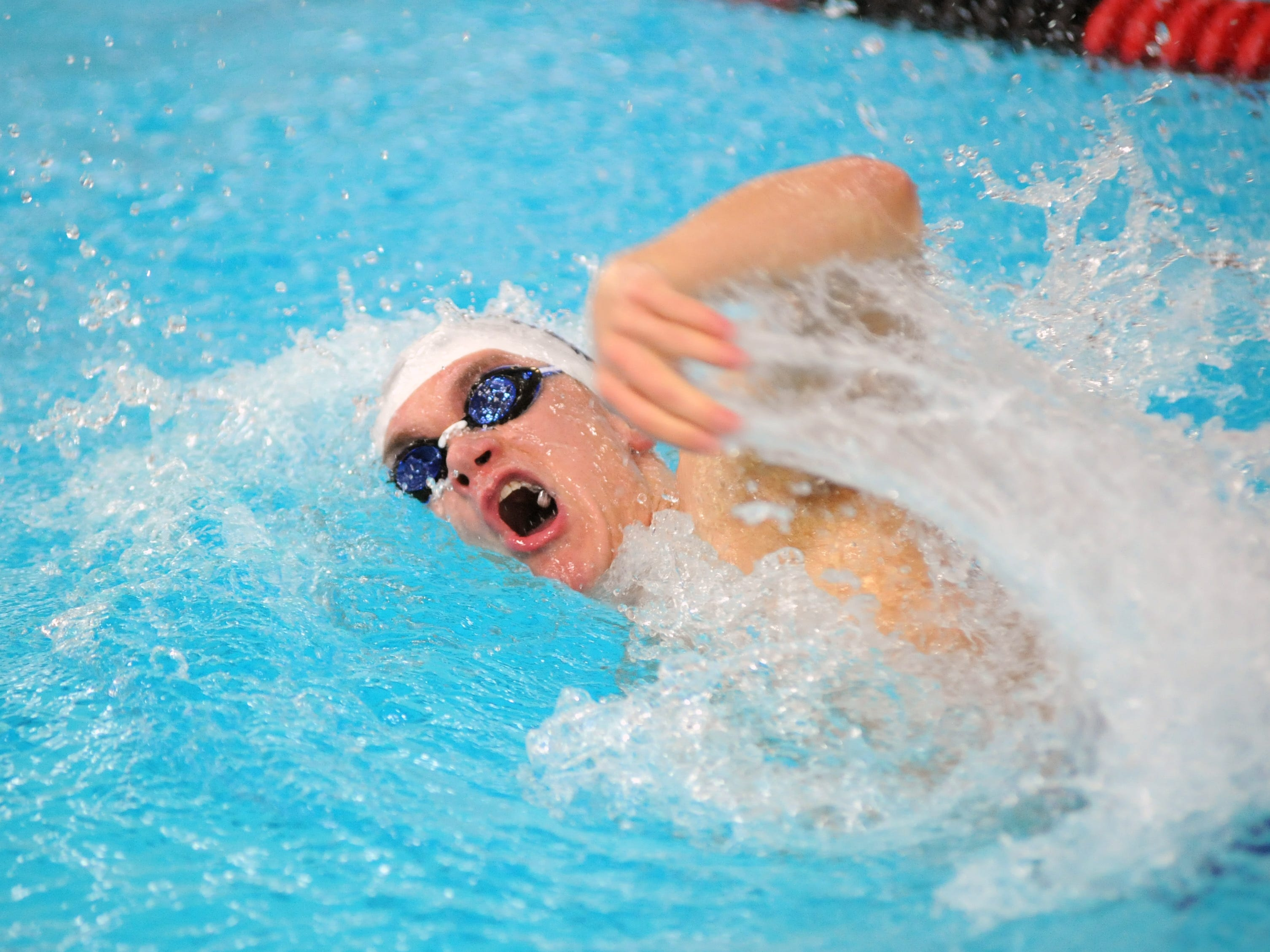 Zanesville's David Griffin competes in the 200 meter medley relay Saturday during the 2015 Coshocton Invitational at Coshocton High School.
