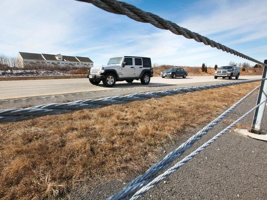 Cable guard rails were placed along the median of Del. 1 in a pilot project in 2009-2010 near Odessa.