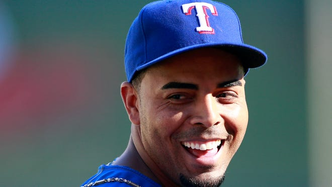 Texas Rangers right fielder Nelson Cruz before the American League wild-card tiebreaker game against the Tampa Bay Rays at Texas Rangers Ballpark at Arlington.