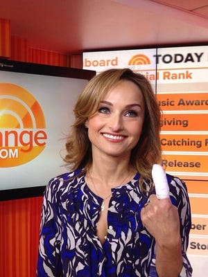 Giada De Laurentiis shows off her sliced and bandaged finger on 'Today' today.