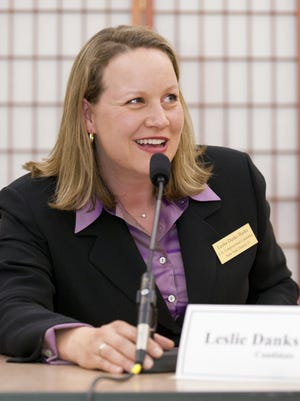 Leslie Danks Burke participates in a debate during the 2012 Democratic primary campaign for the 23rd U.S. Congressional District.