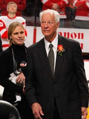 Former NHL star Gordie Howe looks on during a ceremony honoring his son, former Philadelphia Flyers player Mark Howe, before the start of the Flyers and Detroit Red Wings game at Wells Fargo Center on March 6, 2012.