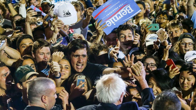 Bernie Sanders greets supporters after speaking at a rally at Santa Monica High School Football Field in Santa Monica, Calif., on May 23, 2016.