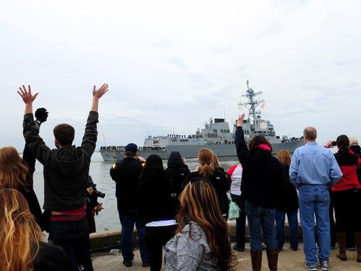 The destroyer Winston S. Churchill leaves Norfolk,