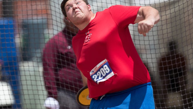 Abilene Cooper's McCord Whitaker competes in the Class 5A boys discus at the UIL State Track and Field meet at Mike A Myers Stadium in Austin. Whitaker, a wild-card entry, finished sixth Friday.