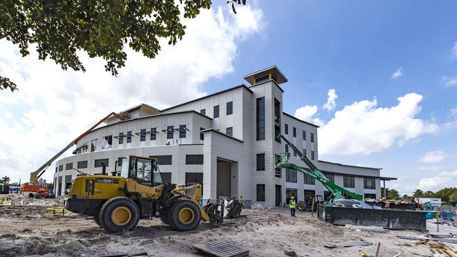 Construction continues on the new Boynton Beach City Hall and Library located buildings in the city's downtown Town Square project in Boynton Beach, March 5, 2020.