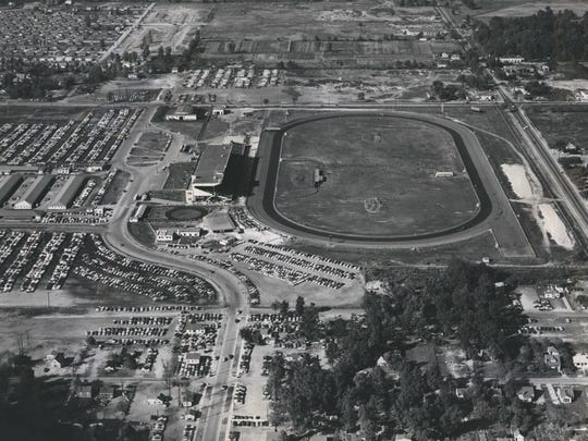 This is a 1954 photo of Hazel Park Raceway, located in Hazel Park, in southeastern Michigan, a harness raceway inaugurated in 1949.