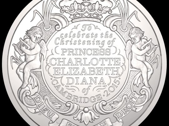 The silver 5-pound coin struck by The Royal Mint to