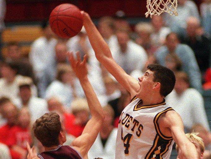 3/16/98 -- Iowa Falls' Nick Collison blocked a shot