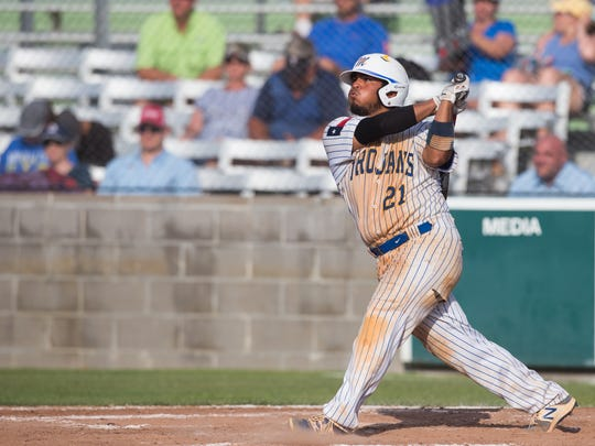 Moody's Ramsey Flores hits a triple during the third inning of the 5A Regional semifinal's third game against Kerrville Tivy at Cabaniss Baseball Field on Saturday, May 27, 2017.