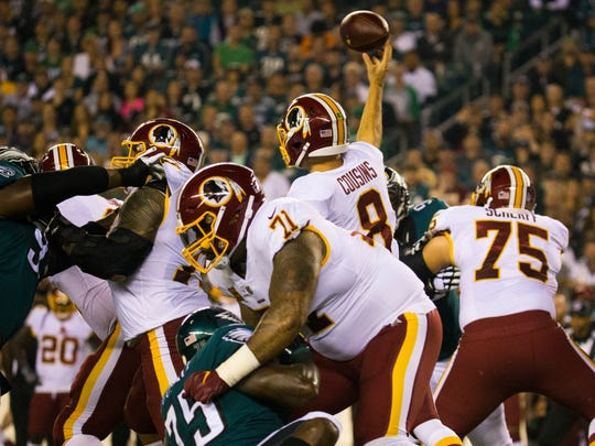 Kirk Cousins, now with Minnesota, averaged 303 yards per game passing against the Eagles during his time in Washington.