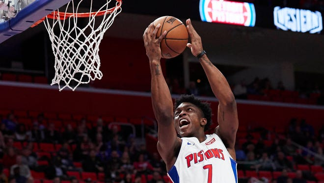 Dec 10, 2017; Detroit, MI, USA; Pistons forward Stanley Johnson goes to the basket in the second half against the Celtics at Little Caesars Arena.