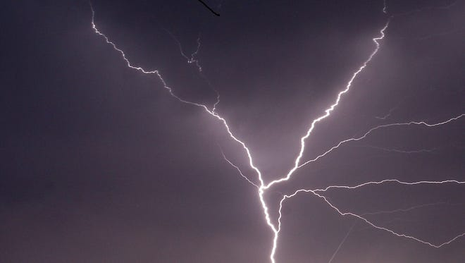 Lightning in a storm