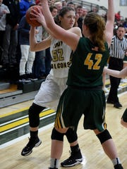 Winchester's Shelby Miller protects the ball from Northeastern's Kasey Andrews Saturday, Feb. 4, 2017, during the girls basketball sectional championship in Fountain City.
