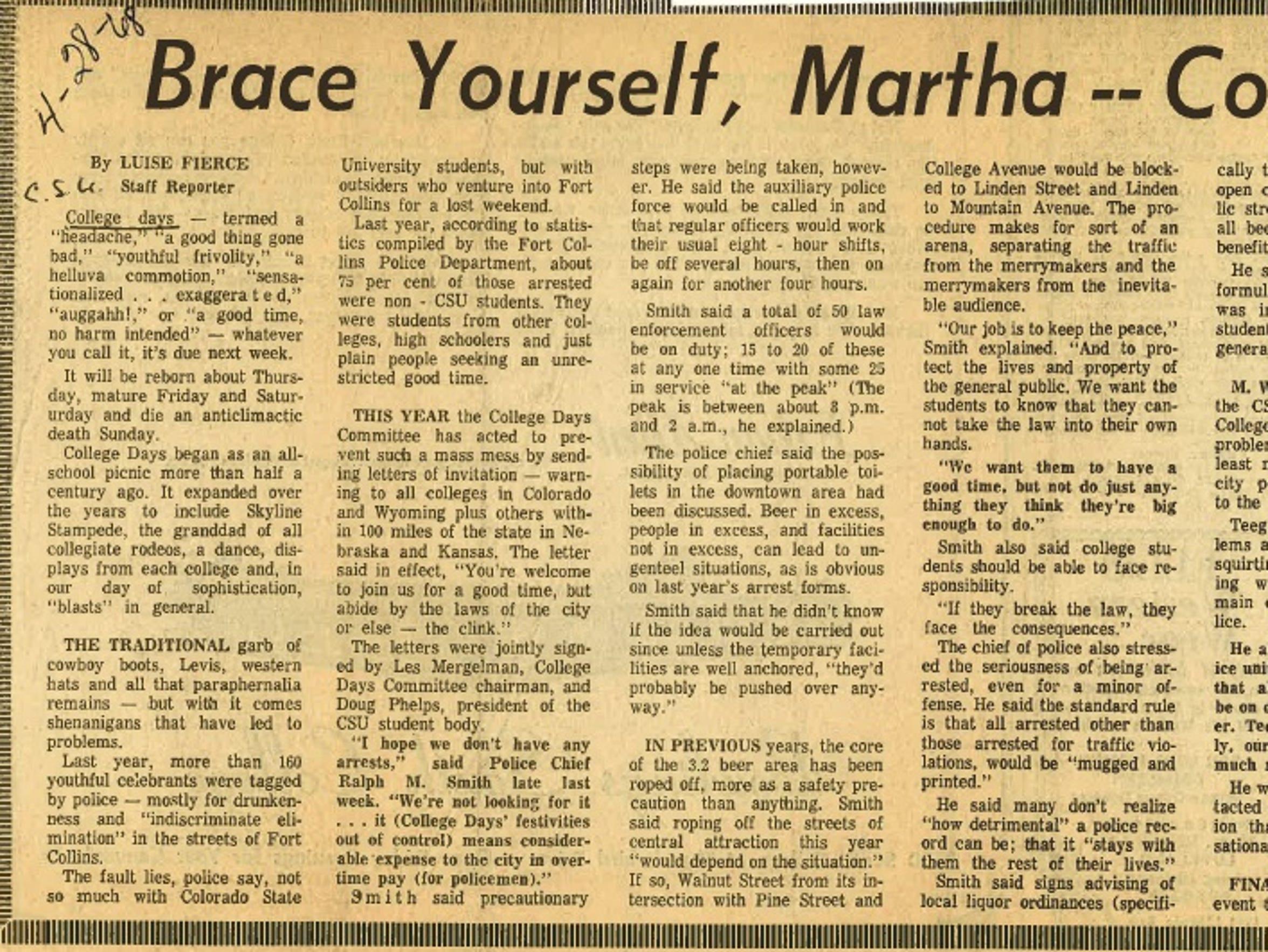 A Coloradoan headline from 1968.