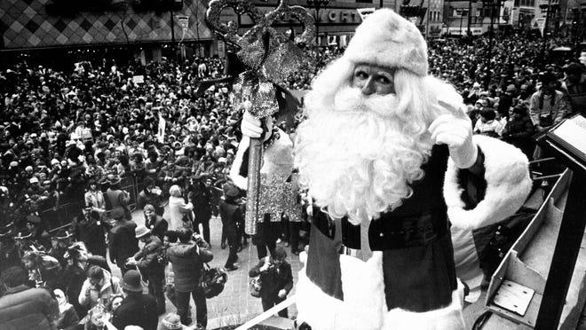 Santa makes an appearance at the J.L. Hudson parade, date untitled.