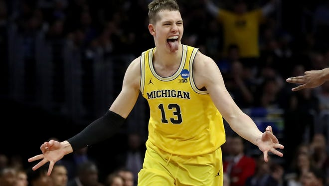 Moritz Wagner celebrates a 3-pointer against Texas A&M in the Sweet 16 on March 22 in Los Angeles.