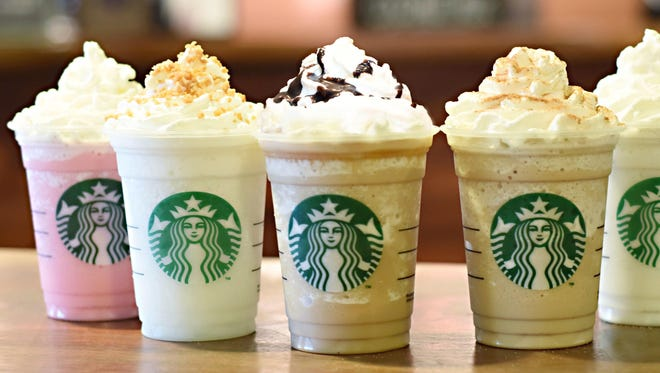 Starbucks' six new fan flavor Frappuccinos.