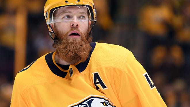 Apr 14, 2018; Nashville, TN, USA; Nashville Predators defenseman Ryan Ellis (4) during the second period against the Colorado Avalanche in game two of the first round of the 2018 Stanley Cup Playoffs at Bridgestone Arena. Mandatory Credit: Christopher Hanewinckel-USA TODAY Sports