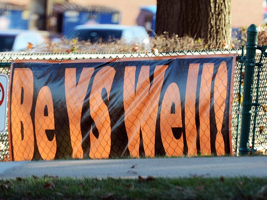 A banner outside York Suburban High School Tuesday,
