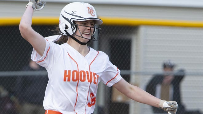 Hoover's Alysha Elsbury celebrates as she rounds the bases after hitting a two-run homer in the tenth inning against Perry on Tuesday, April 23, 2019.