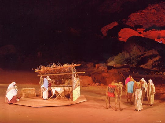 A live nativity with real animals is part of Tuacahn's Christmas in the Canyon.