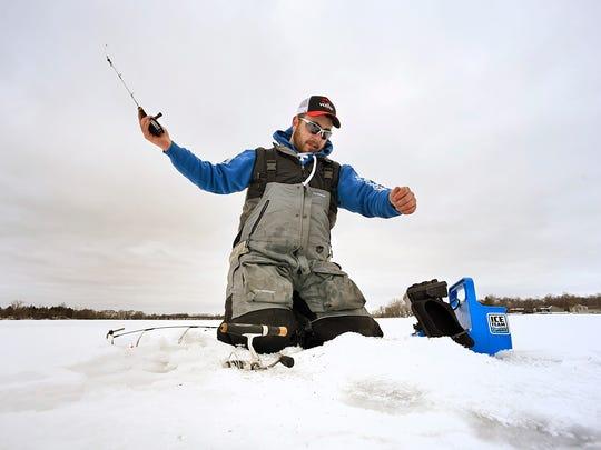 Grant Hopke, St. Augusta, does some practice fishing Wednesday, Jan 27 on Beaver Lake near Luxemburg.