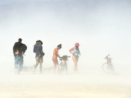 Images of people at Burning Man 2017 in the Black Rock