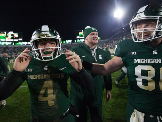 Michigan State's Matt Coghlin after kicking the winning