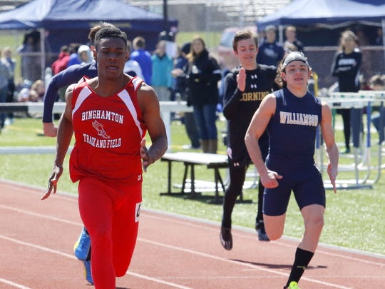 Sincere Williamson of Binghamton takes first place in the 100-meter dash Saturday at the Waite-Molnar Invitational at Ernie Davis Academy in Elmira.