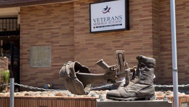 A vandal broke the Fallen Soldier Battle Cross sculpture in front of the Visalia Veterans Building late Sunday night.