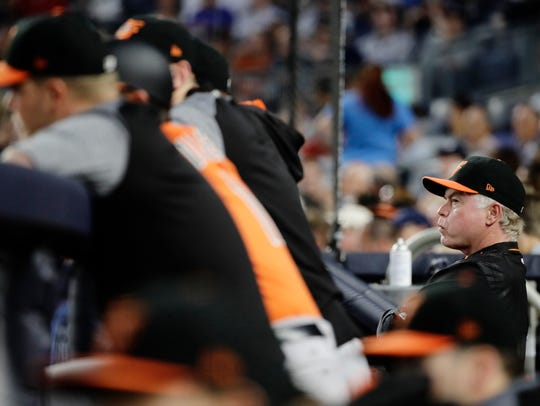 Baltimore Orioles manager Buck Showalter watches his
