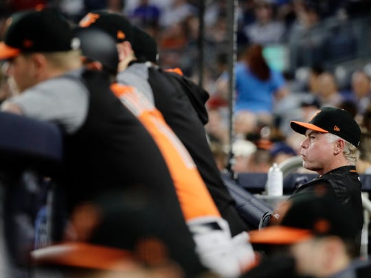 Baltimore Orioles manager Buck Showalter watches his team play during the fourth inning of a baseball game against the New York Yankees, Saturday, June 10, 2017, in New York.