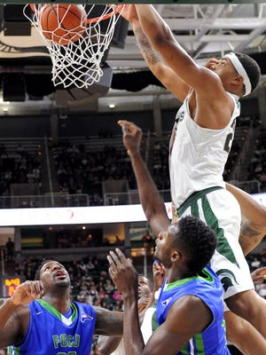 Miles Bridges had 22 points and 15 rebounds in Michigan State's 73-62 victory over St. John's Wednesday.
