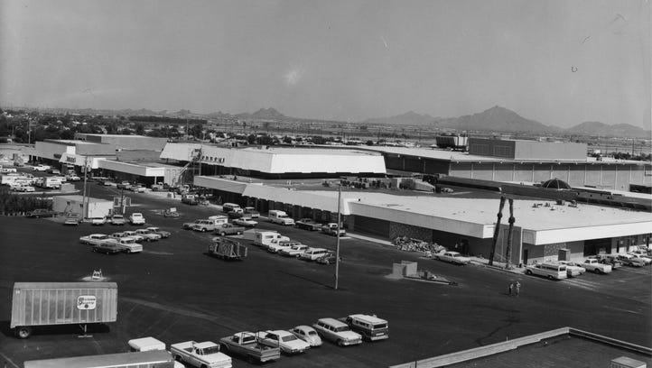 A view of Switzer's, J.C, Penney's and the parking