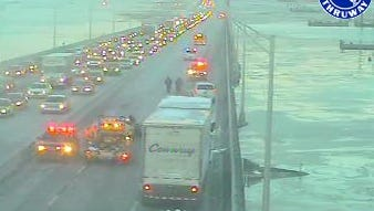 Accident scene on the Rockland-bound side of the Tappan Zee Bridge after a tractor-trailer collided with a car at mid-span Wednesday morning. State police closed all north-bound lanes.
