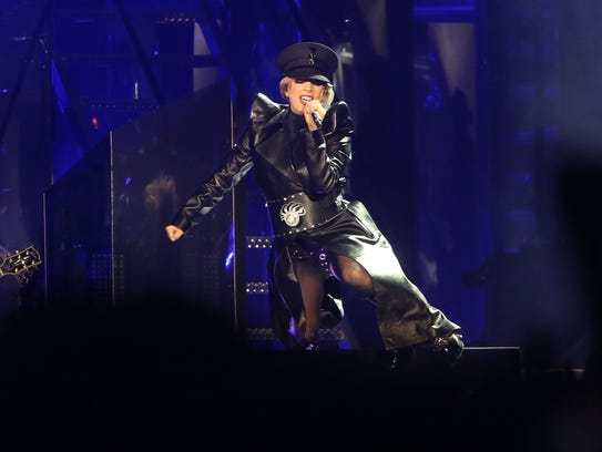 Apr 22, 2017; Indio, CA, USA; Lady Gaga performs during