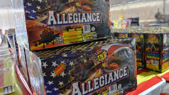 Boxes of fireworks available for sale at a stand in Sartell on June 30, 2017.