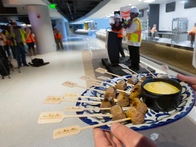 Bratwurst samples were part of a news conference announcing