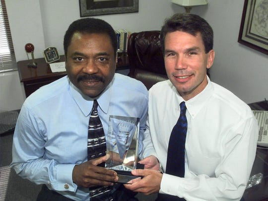 World Wide Technology Chairman David Steward, left, poses for a photo with company president and chief operating officer Jim Kavanaugh in this 1999 file photo.