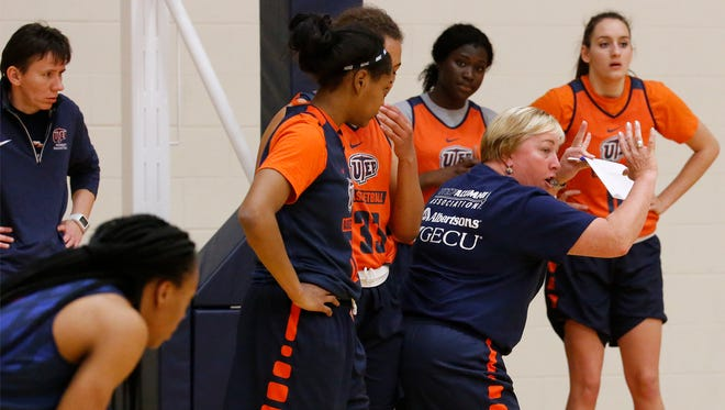 UTEP head coach Keitha Adams takes her team through its final practice in preparation for a game against Abilene Christian in the WNIT at the Don Haskins Center.