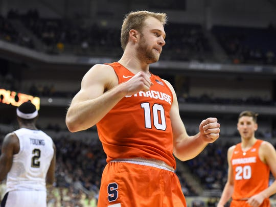 Trevor Cooney reacts to a play against Pitt during a game in December.