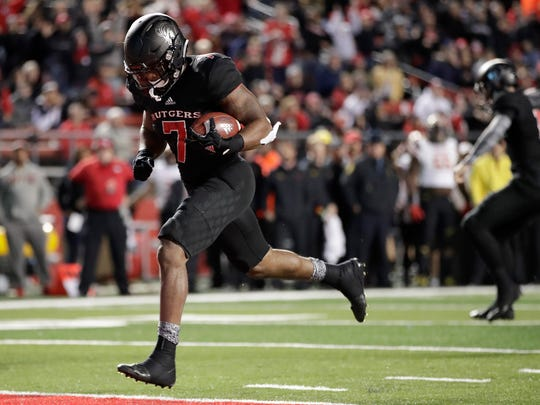 Rutgers running back Robert Martin rushes in for a touchdown against Maryland during the second half of an NCAA college football game, Saturday, Nov. 4, 2017, in Piscataway, N.J. (AP Photo/Julio Cortez)
