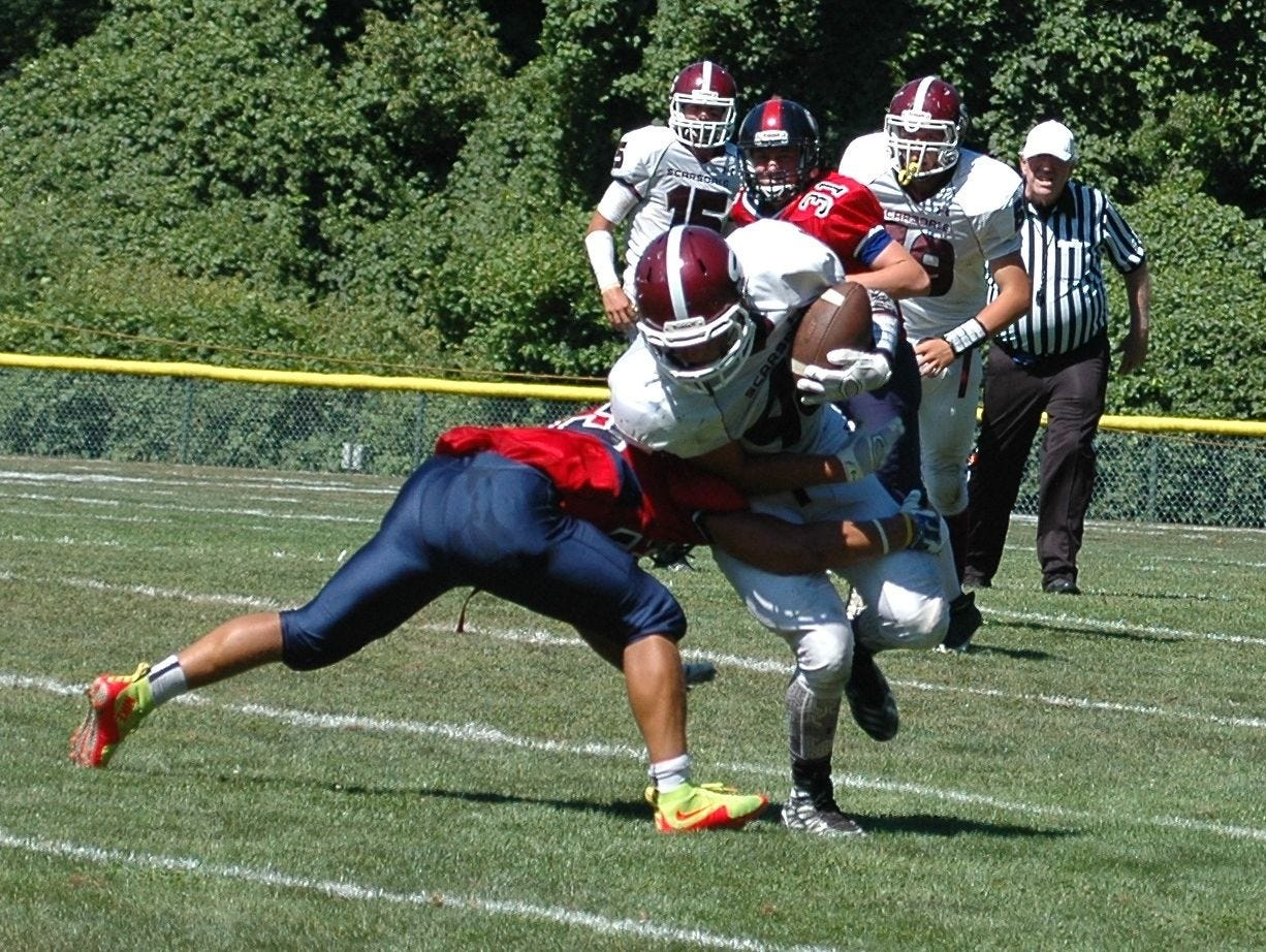 The Scarsdale football team in action against Ketcham on Saturday, Sept. 5.