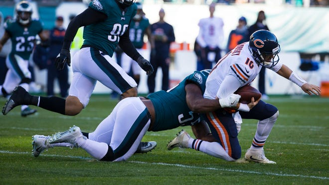 Eagles' Brandon Graham takes down Bears quarterback Mitchell Trubisky Sunday at Lincoln Financial Field.