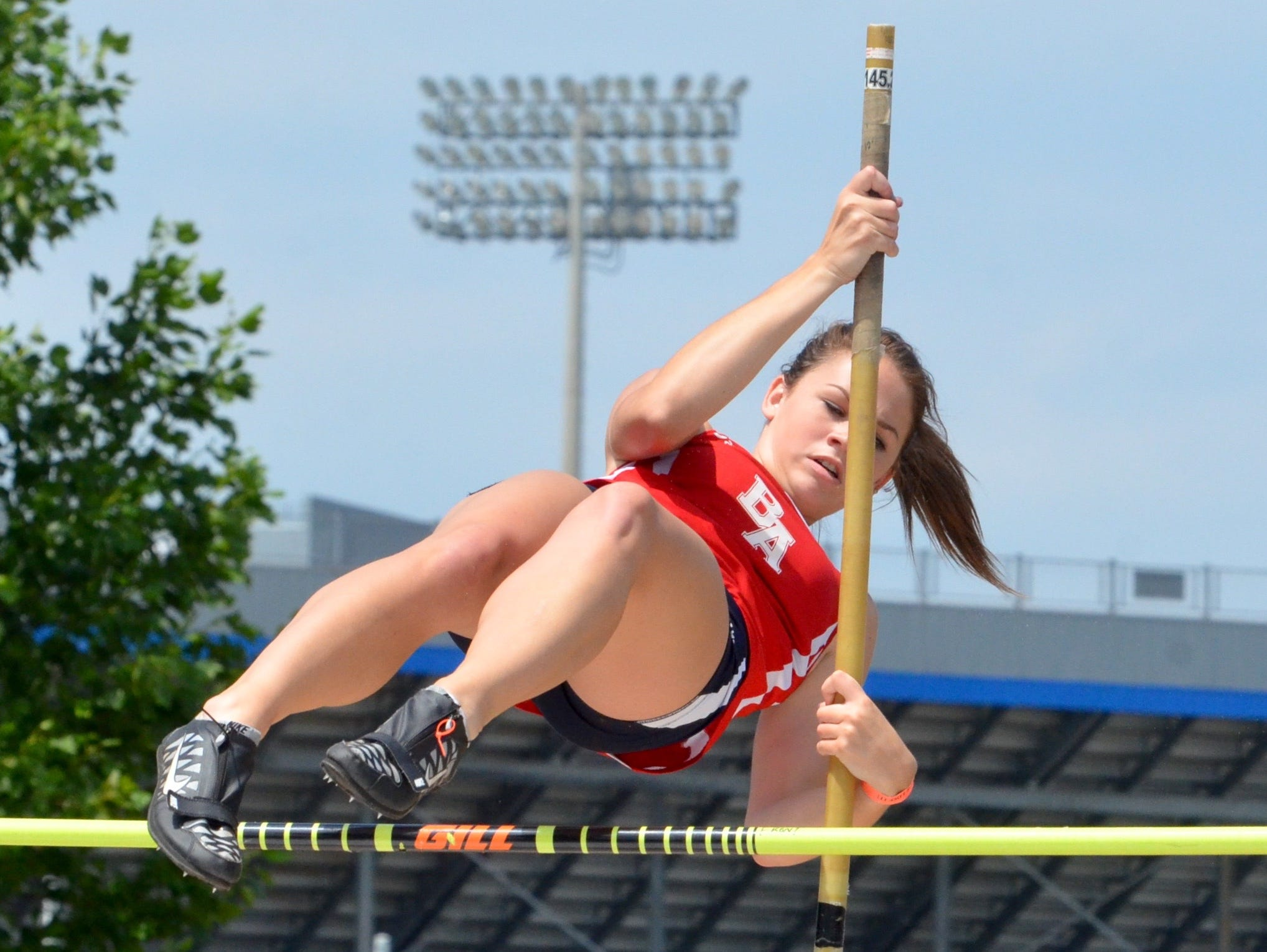 Brentwood Academy's Alexandria Swindle competes in the Division II pole vault during Thursday's TSSAA State Track Championships at MTSUÕs Dean A. Hayes Stadium.