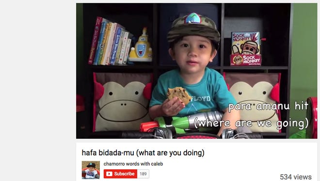 Calab Santos is a 3-year-old in California learning Chamorro. He's got his own Youtube page where he practices Chamorro words and phrases with his mother Tara Santos.