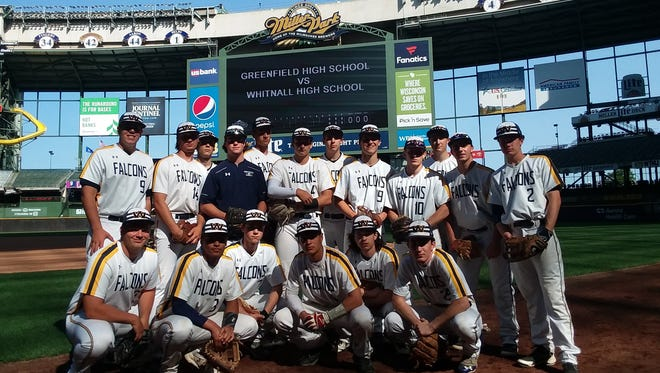 The Whitnall baseball team poses for a photo before playing a game against Greenfield at Miller Park on June 7, 2018