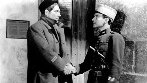 """""""Grand Illusion"""" (1937): One of the greatest films ever made. Jean Renoir directed and co-wrote the film, in which two French officers (Pierre Fresnay and Jean Gabin) are shot down by a German pilot (Erich von Stroheim). When he learns they are officers, he treats them with respect, having lunch with them. They are moved to a POW camp, where they plot escapes. The film looks at class distinctions and the futility of war. It's brilliant."""